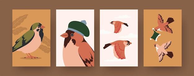 Conjunto de carteles de arte contemporáneo con gorriones y gorritos de invierno.