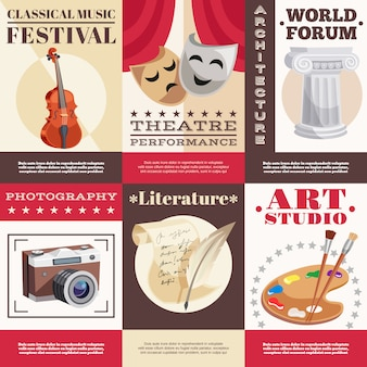 Conjunto de carteles de arte
