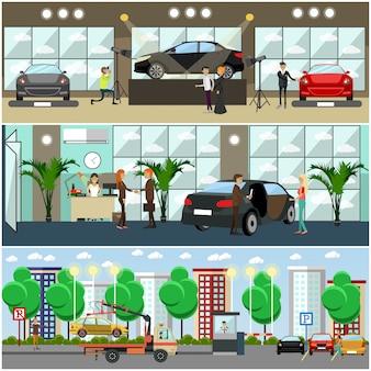 Conjunto de carteles de automóviles, pancartas en estilo plano