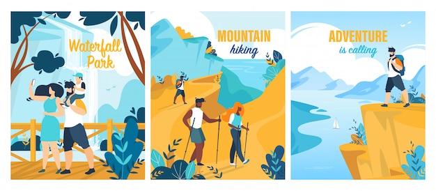 Conjunto de carteles de aventuras de verano
