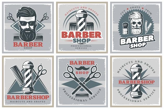 Conjunto de carteles de barbería hipster