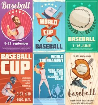 Conjunto de carteles de béisbol en estilo retro con publicidad de fecha de torneos y copa mundial plana.