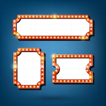 Conjunto de carteles de bombillas eléctricas