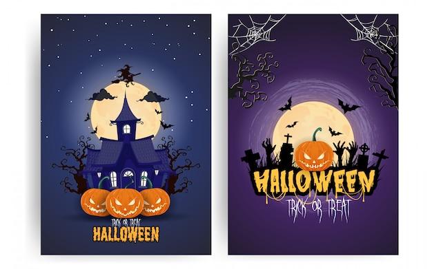 Conjunto de carteles de calabazas de halloween bajo la luna