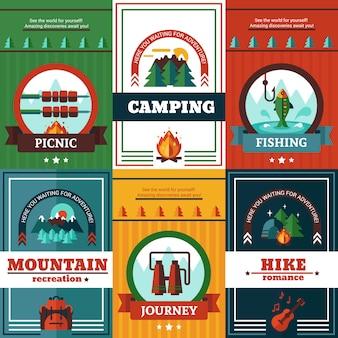 Conjunto de carteles de camping