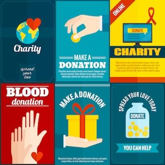 Conjunto de carteles de caridad.