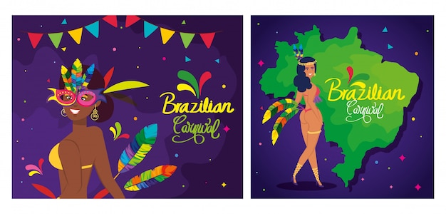 Conjunto de carteles de carnaval de brasil con decoración