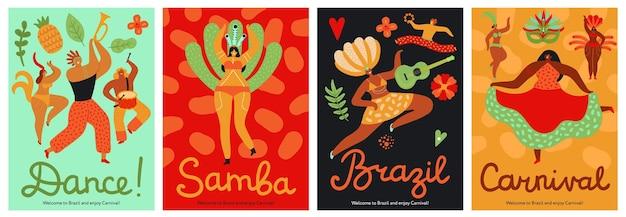 Conjunto de carteles de carnaval de brasil