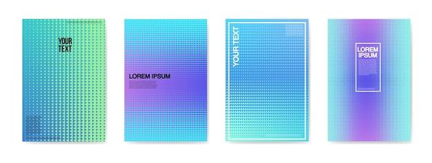 Conjunto de carteles de carteles de tarjetas creativas abstractas. diseño de degradado de semitono de moda para pancartas, portada, invitación. folleto hipster, flyer, prospecto. ilustración vectorial