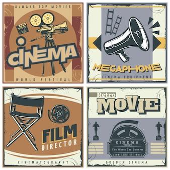 Conjunto de carteles de cine retro