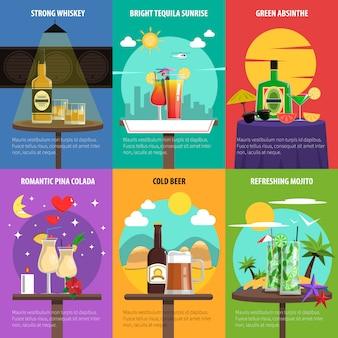 Conjunto de carteles de cóctel