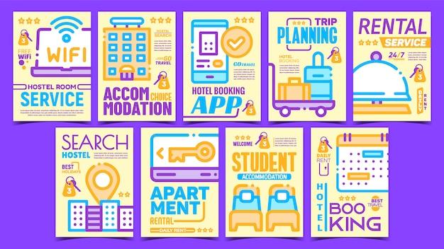 Conjunto de carteles creativos del servicio de habitaciones del hotel