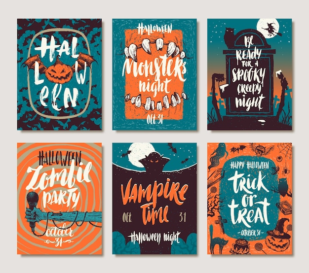 Conjunto de carteles dibujados a mano de vacaciones de halloween o tarjetas de felicitación con citas, palabras y frases de caligrafía manuscrita. ilustración.