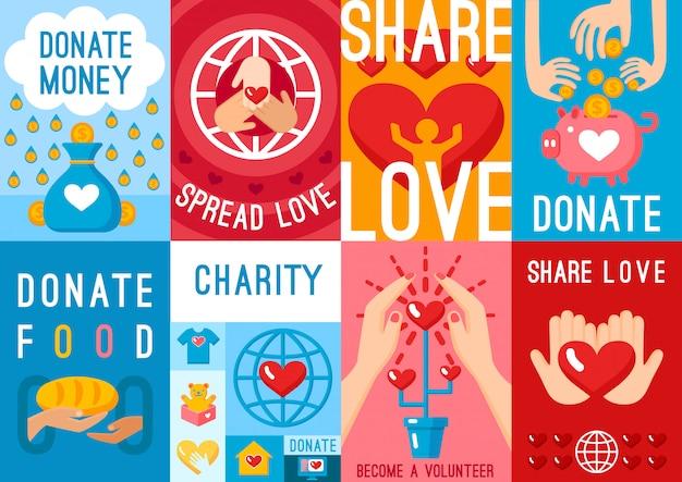 Conjunto de carteles de donación de caridad