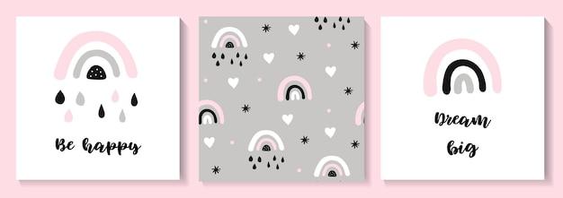 Conjunto de carteles de ducha de bebé de patrones sin fisuras