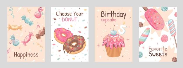 Conjunto de carteles de dulces. ilustraciones de caramelos, donas, helados, cupcakes