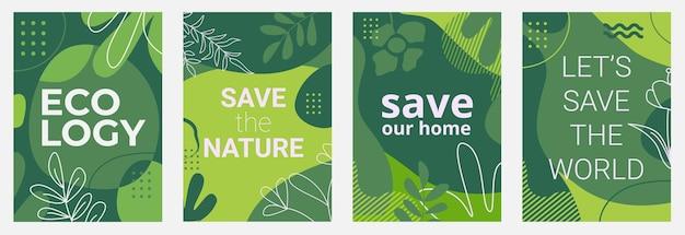 Conjunto de carteles ecológicos con fondos verdes, hojas de formas líquidas y elementos