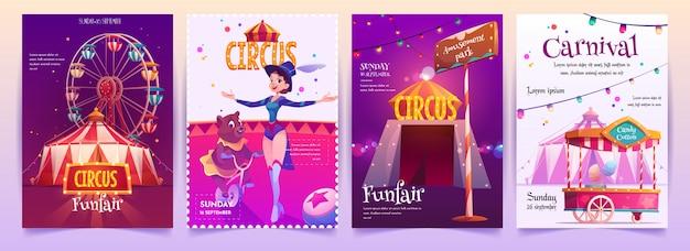 Conjunto de carteles de espectáculo de circo
