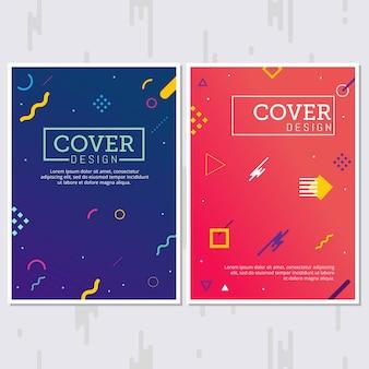 Conjunto de carteles de estilo memphis. fondos de colores fluidos