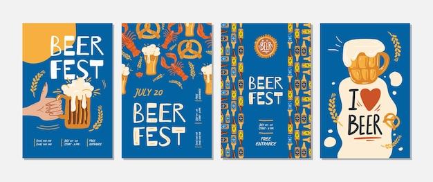 Conjunto de carteles de eventos de cerveza fest