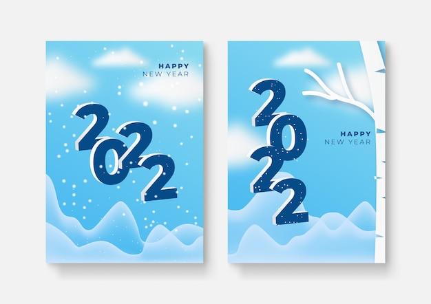 Conjunto de carteles de feliz año nuevo, tarjetas de felicitación, portadas de vacaciones. plantillas de diseño de feliz navidad con tipografía, deseos de temporada en un estilo minimalista moderno para web, redes sociales. ilustración vectorial.