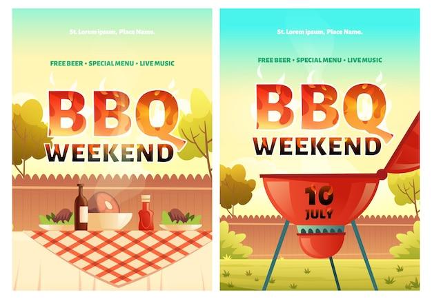 Conjunto de carteles de fin de semana de barbacoa.