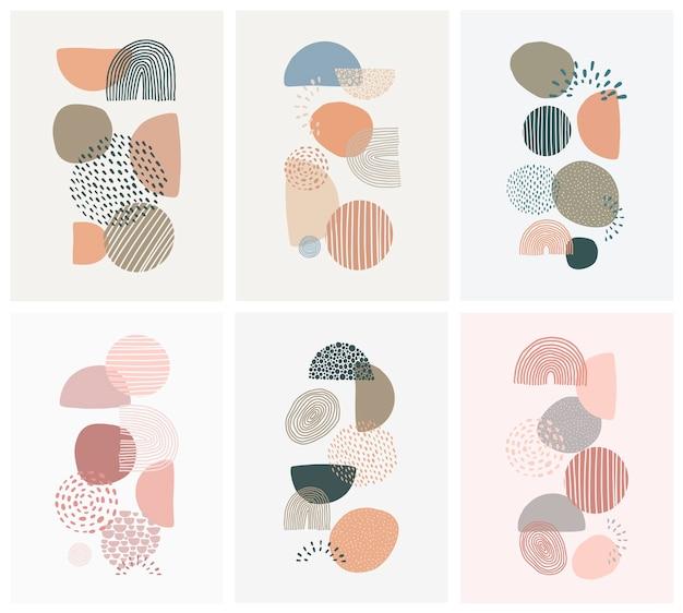 Conjunto de carteles con formas abstractas