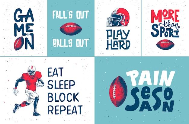 Conjunto de carteles de fútbol americano dibujado a mano