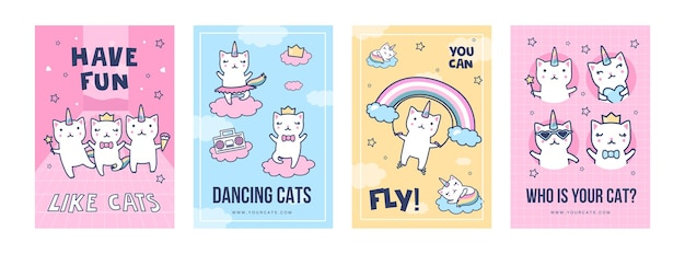 Conjunto de carteles de gatos unicornio