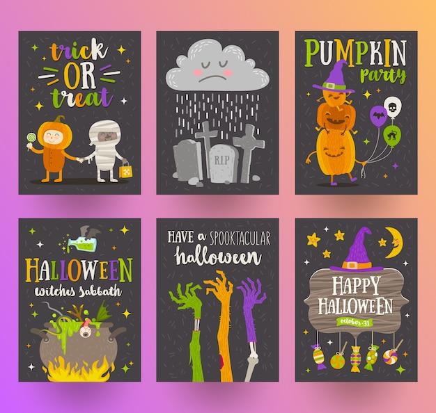 Conjunto de carteles de halloween o tarjetas de felicitación con personajes de dibujos animados, signo de vacaciones, símbolos y diseño tipográfico. ilustración.