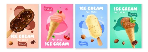 Conjunto de carteles de helado