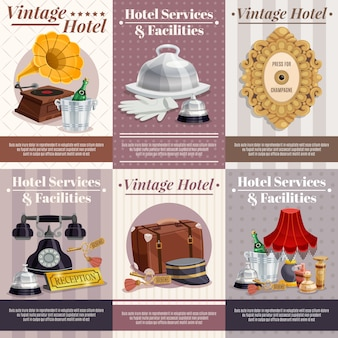Conjunto de carteles de hotel vintage