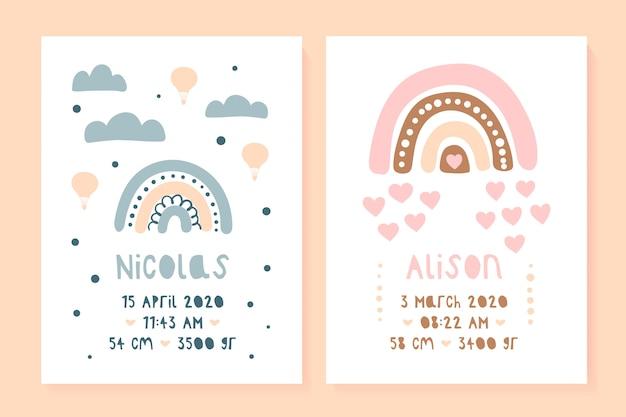 Un conjunto de carteles infantiles, altura, peso, fecha de nacimiento. oso, lama. ilustración métrica recién nacida para dormitorio de niños.