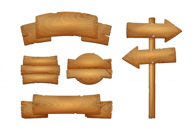 Conjunto de carteles de madera de dibujos animados aislado