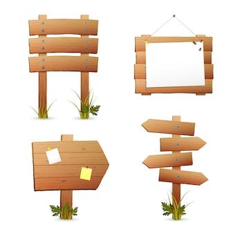 Conjunto de carteles de madera