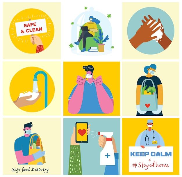 Conjunto de carteles con las manos limpias. comida protegida del virus. propósito sanitario conjunto de ilustración. ilustración de estilo plano. concepto de protección contra virus corona. cuidado de la salud.