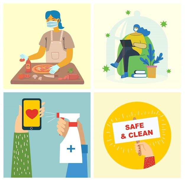 Conjunto de carteles con las manos limpias. comida protegida del virus. propósito sanitario conjunto de ilustración. ilustración de estilo plano moderno. concepto de protección contra virus corona.