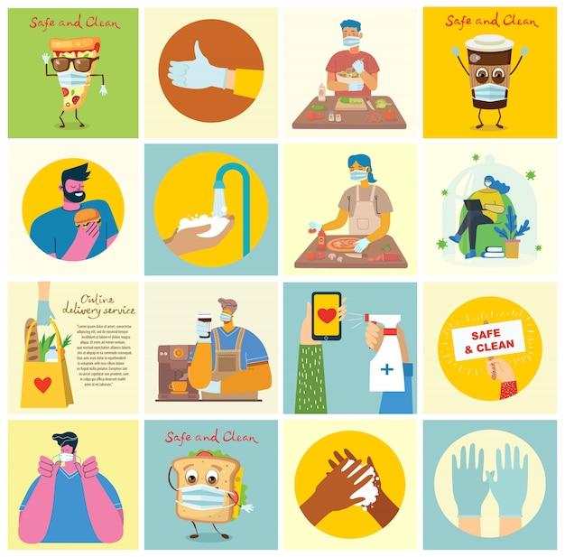 Conjunto de carteles con las manos limpias. comida protegida del virus. propósito sanitario conjunto de ilustración. ilustración de vector de estilo plano moderno concepto de protección contra virus corona.