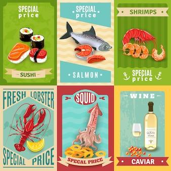 Conjunto de carteles de mariscos