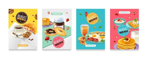 Conjunto de carteles de menú de desayuno