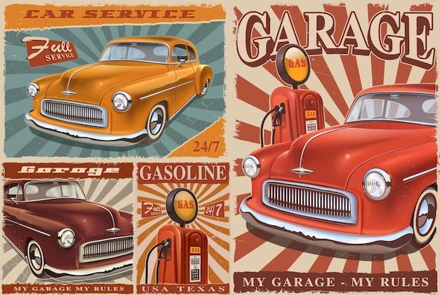Conjunto de carteles de metal de coches antiguos