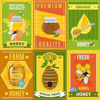 Conjunto de carteles de miel