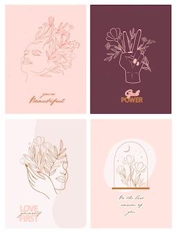 Conjunto de carteles de motivación e inspiración con elementos abstractos de hojas y flores, manos y retrato de niña en un estilo de línea.