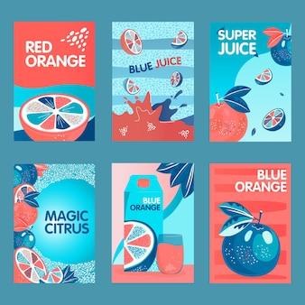Conjunto de carteles naranja rojo y azul. frutas enteras y cortadas, salpicaduras, paquete de jugo de cítricos ilustraciones vectoriales con texto. concepto de comida y bebida para el diseño de paquetes o folletos.