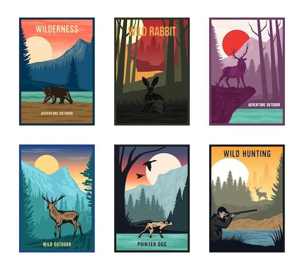 Conjunto de carteles de naturaleza colorida de aventura
