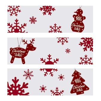 Conjunto de carteles navideños sobre la gran venta navideña. muñeco de nieve, ciervo, árbol de navidad con texto y copos de nieve. folleto, cartel, postales. ilustración vectorial