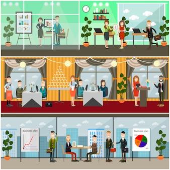 Conjunto de carteles de negocios, pancartas en estilo plano