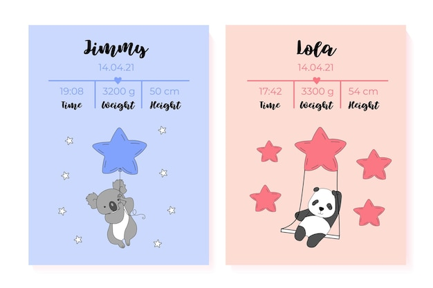 Un conjunto de carteles para niños altura peso fecha de nacimiento.