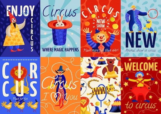 Conjunto de carteles y pancartas de circo