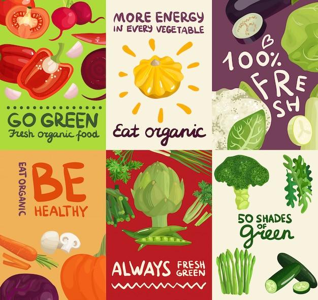 Conjunto de carteles y pancartas de verduras